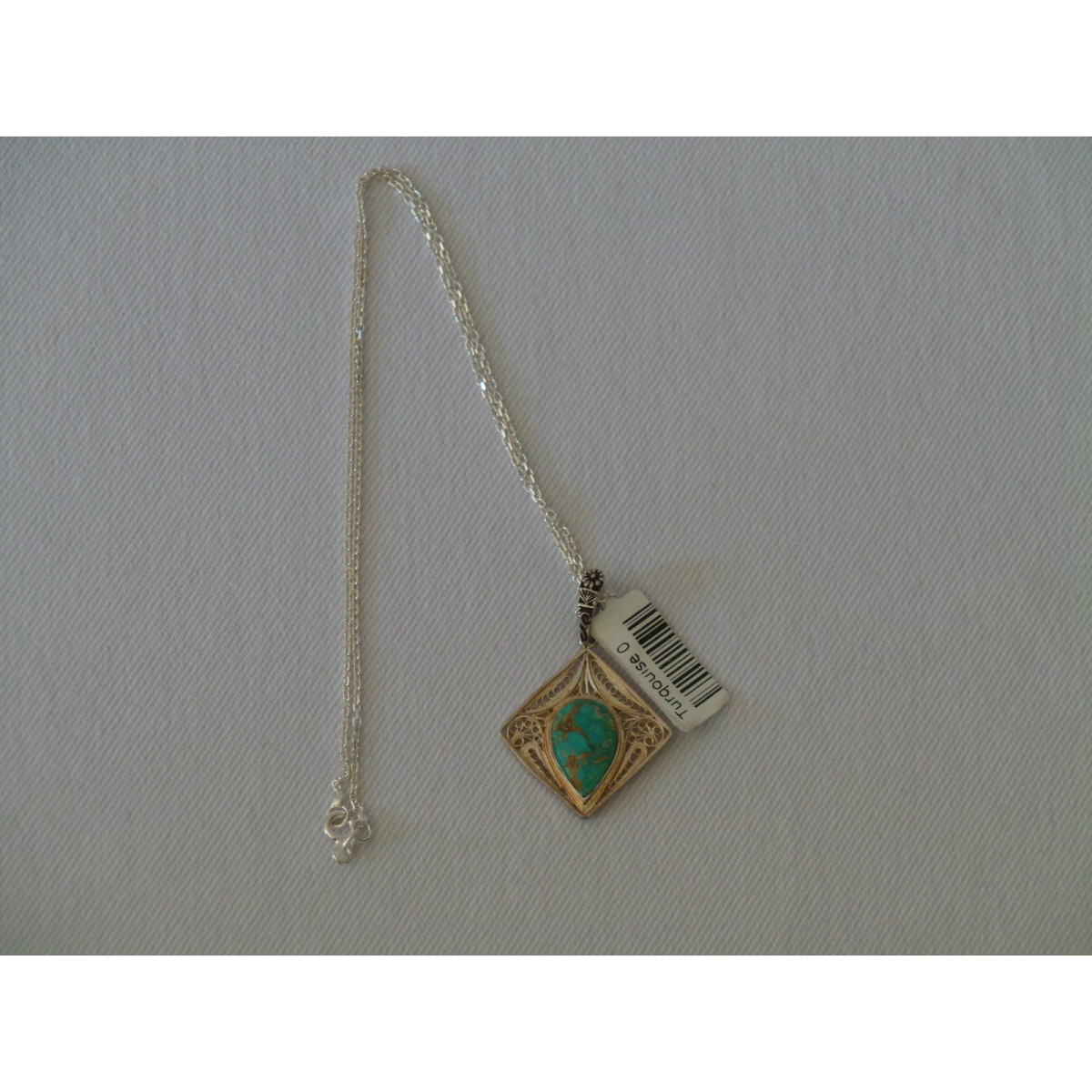 Turquoise Stone and Silver Pendant with Silver Necklace - HA2084-Persian Handicrafts