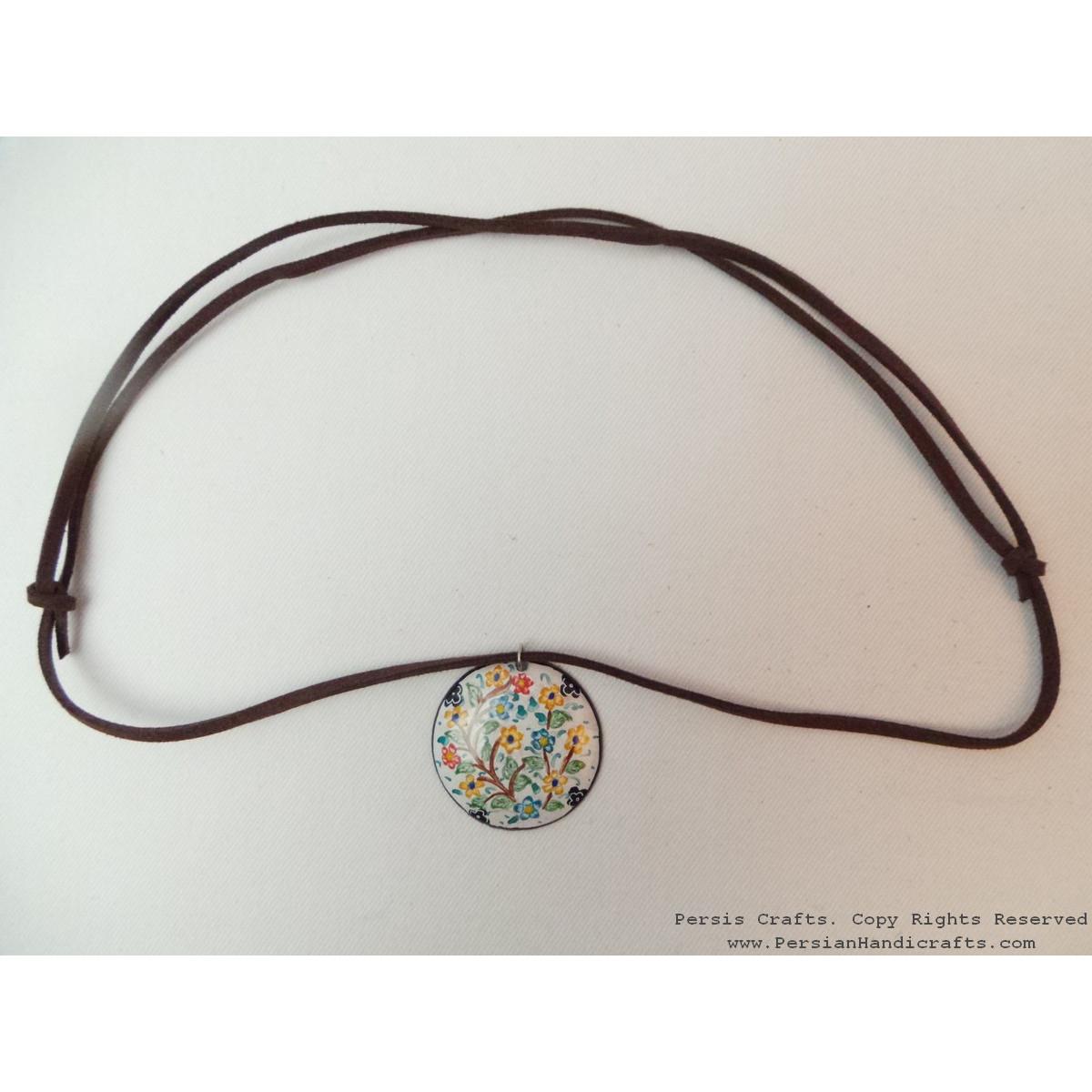 Enamel Minakari Pendant & Leather Necklace - HA3038-Persian Handicrafts