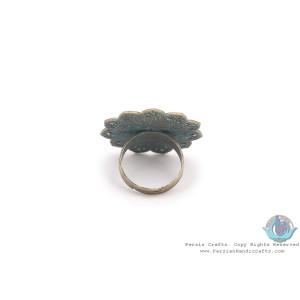 Brass & Khatam on Sun Shape Top Adjustable Ring - HA3909-Persian Handicrafts
