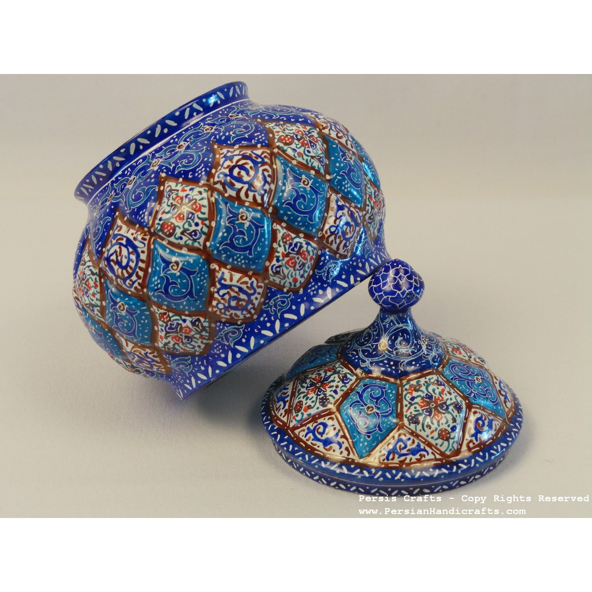 Enamel on Copper Sugar Pot/Candy Dish - HE3020-Persian Handicrafts