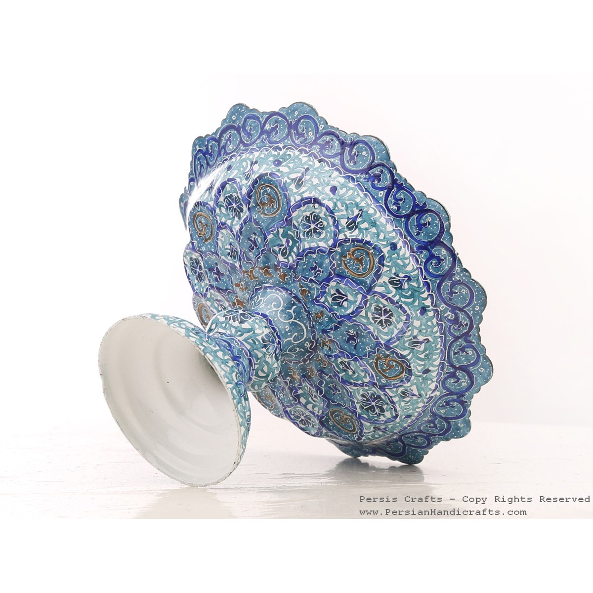 Enamel (Minakari) Pedestal Compote Candy Dish - HE3041-Persian Handicrafts