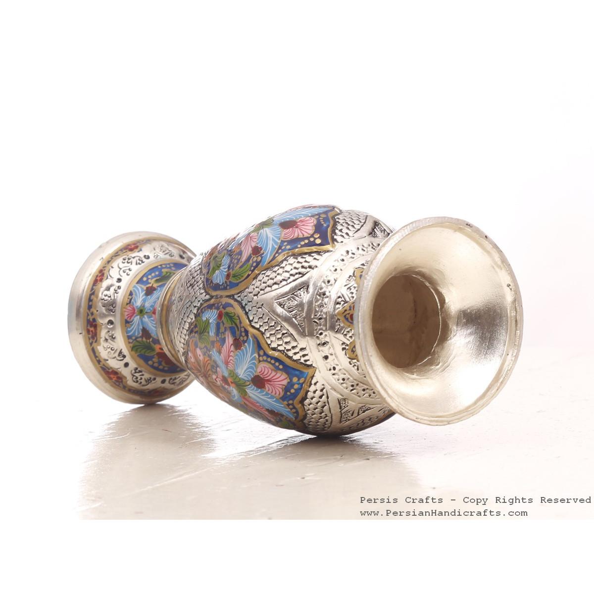Enamel Engraved Flower Vase - HE3047-Persian Handicrafts