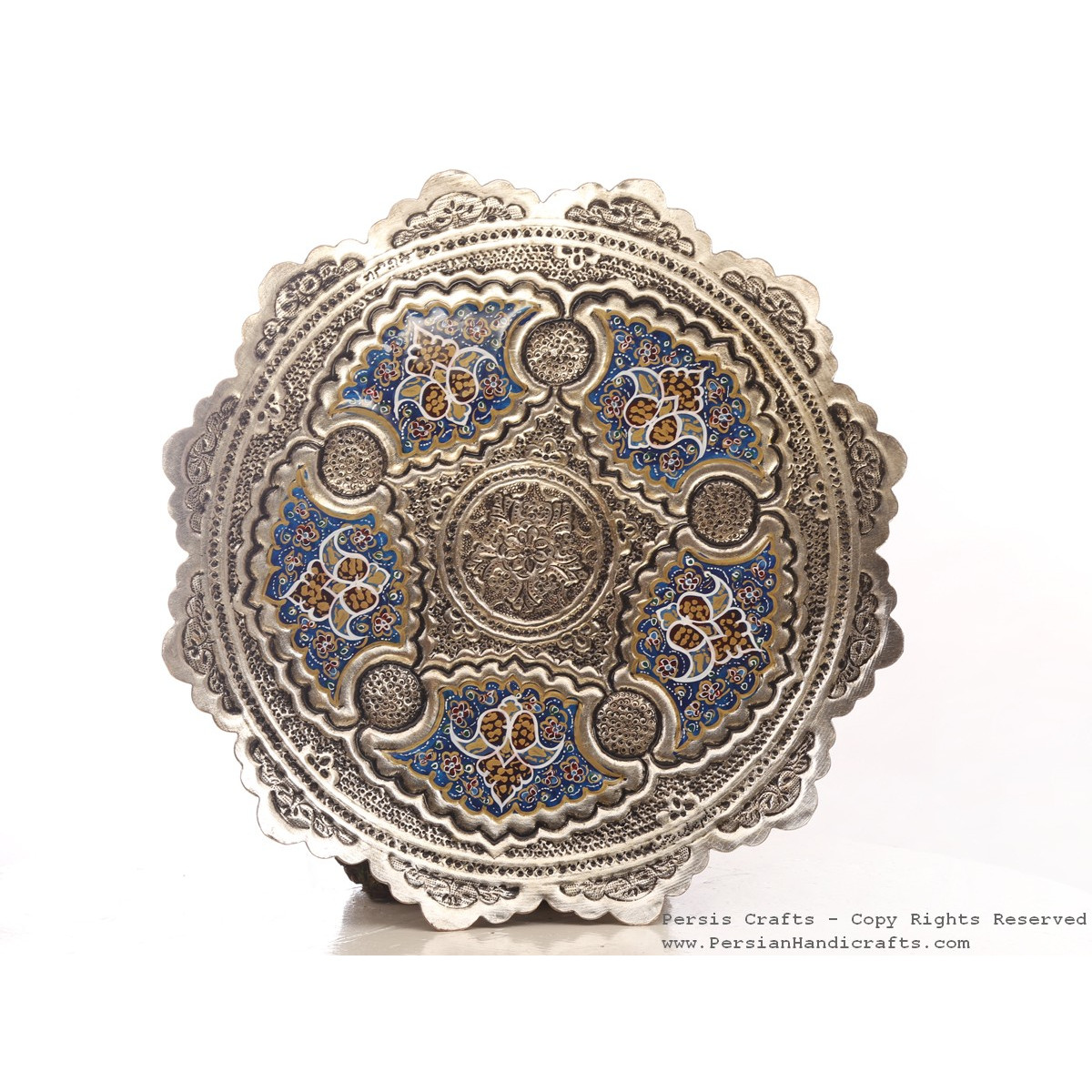 Enamel Engraved Wall Hanging Plate - HE3048-Persian Handicrafts