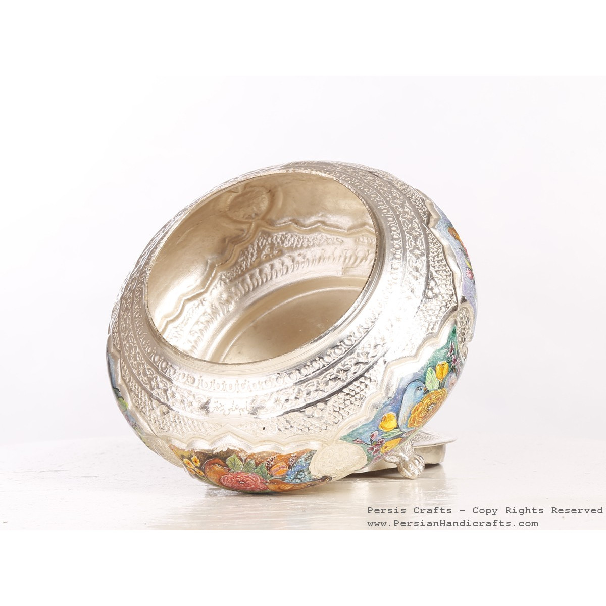 Enamel Engraved Sweet Bowl with Lid- HE3050-Persian Handicrafts