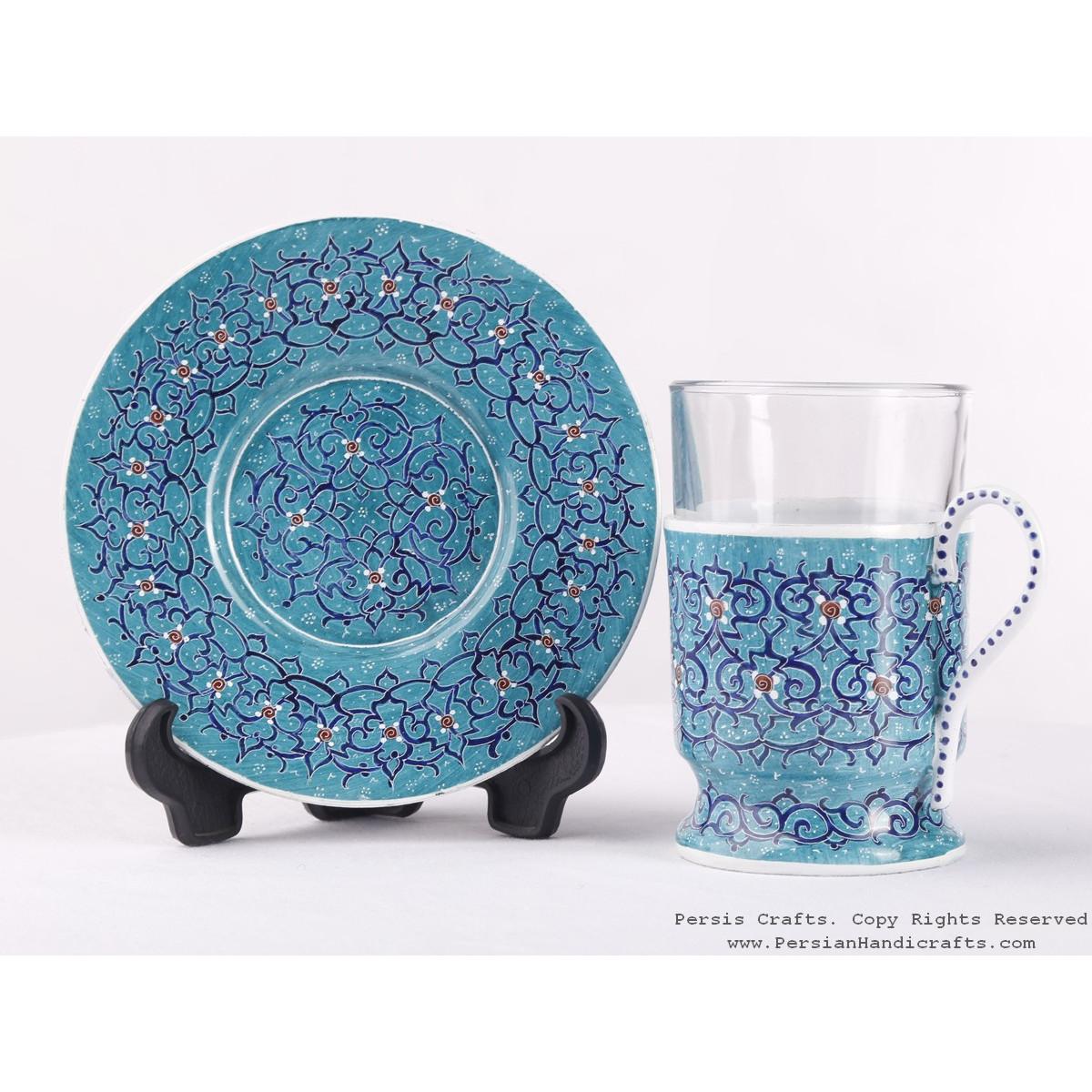 Enamel (Minakari) Tea Cup & Saucer - HE3603-Persian Handicrafts