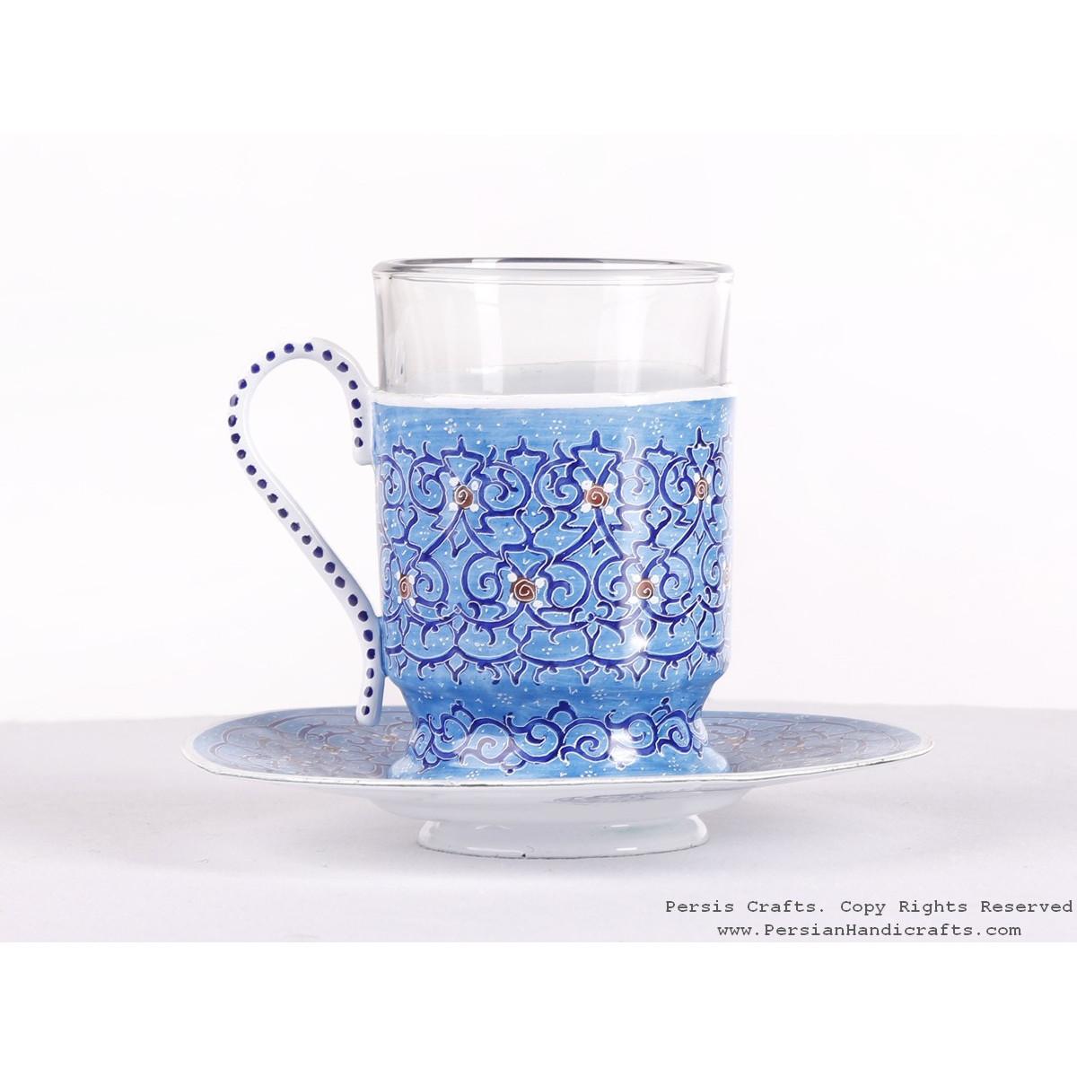 Enamel (Minakari) Tea Cup & Saucer - HE3604-Persian Handicrafts