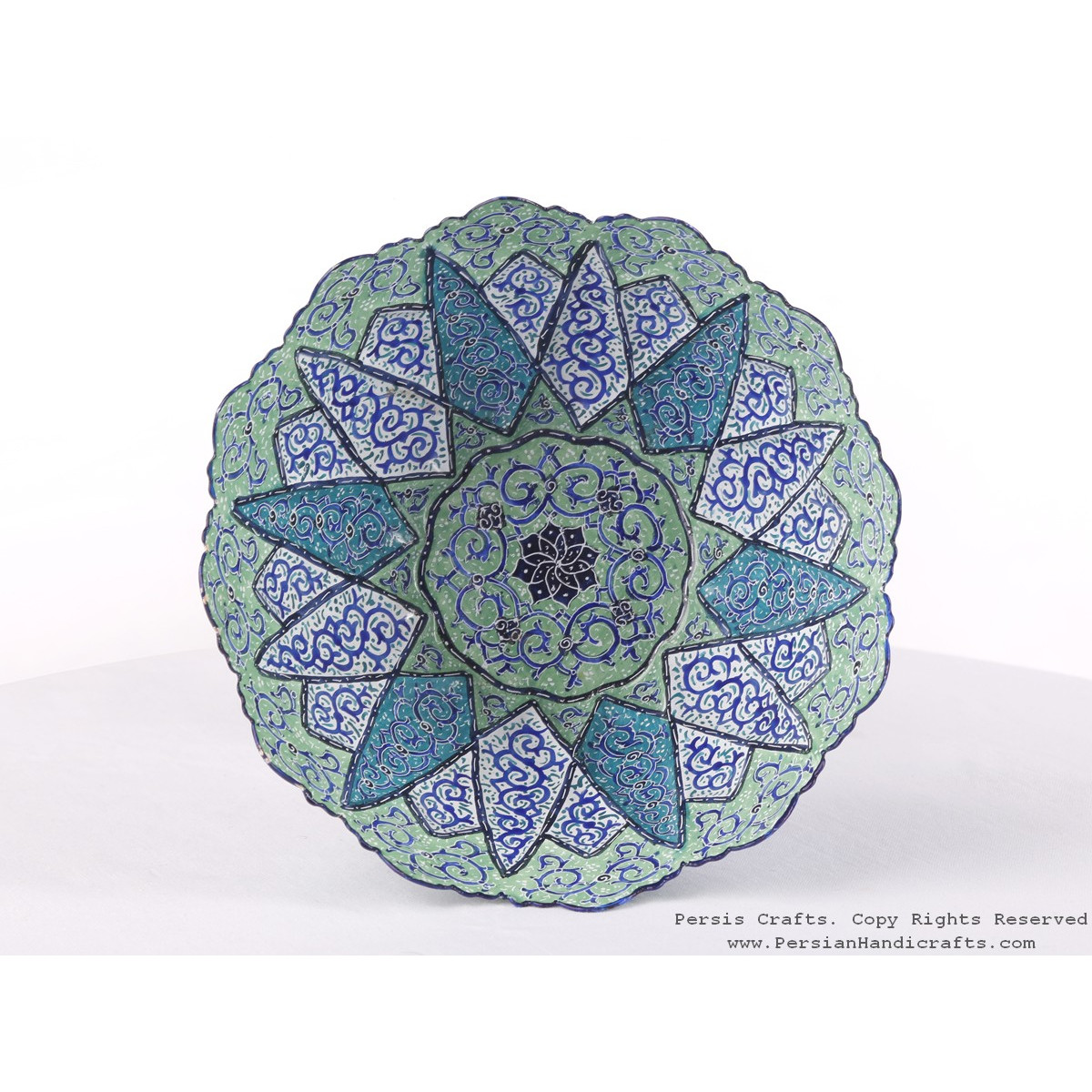 Enamel (Minakari) Pedestal Compote Candy Dish - HE3608-Persian Handicrafts