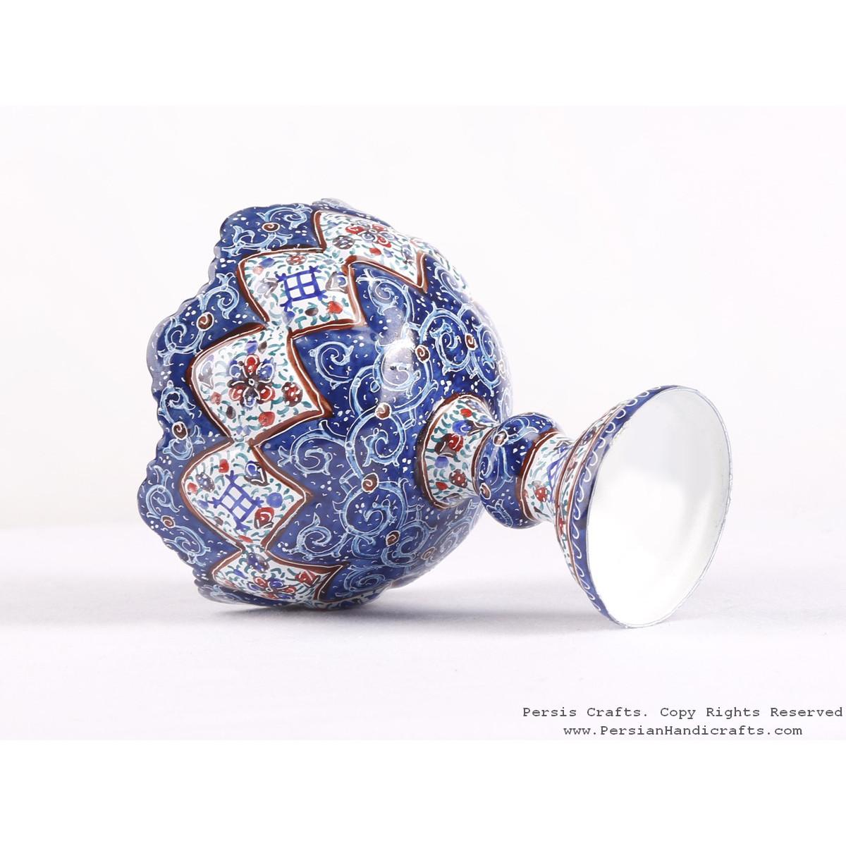 Enamel (Minakari) Pedestal Compote Candy Dish - HE3609-Persian Handicrafts