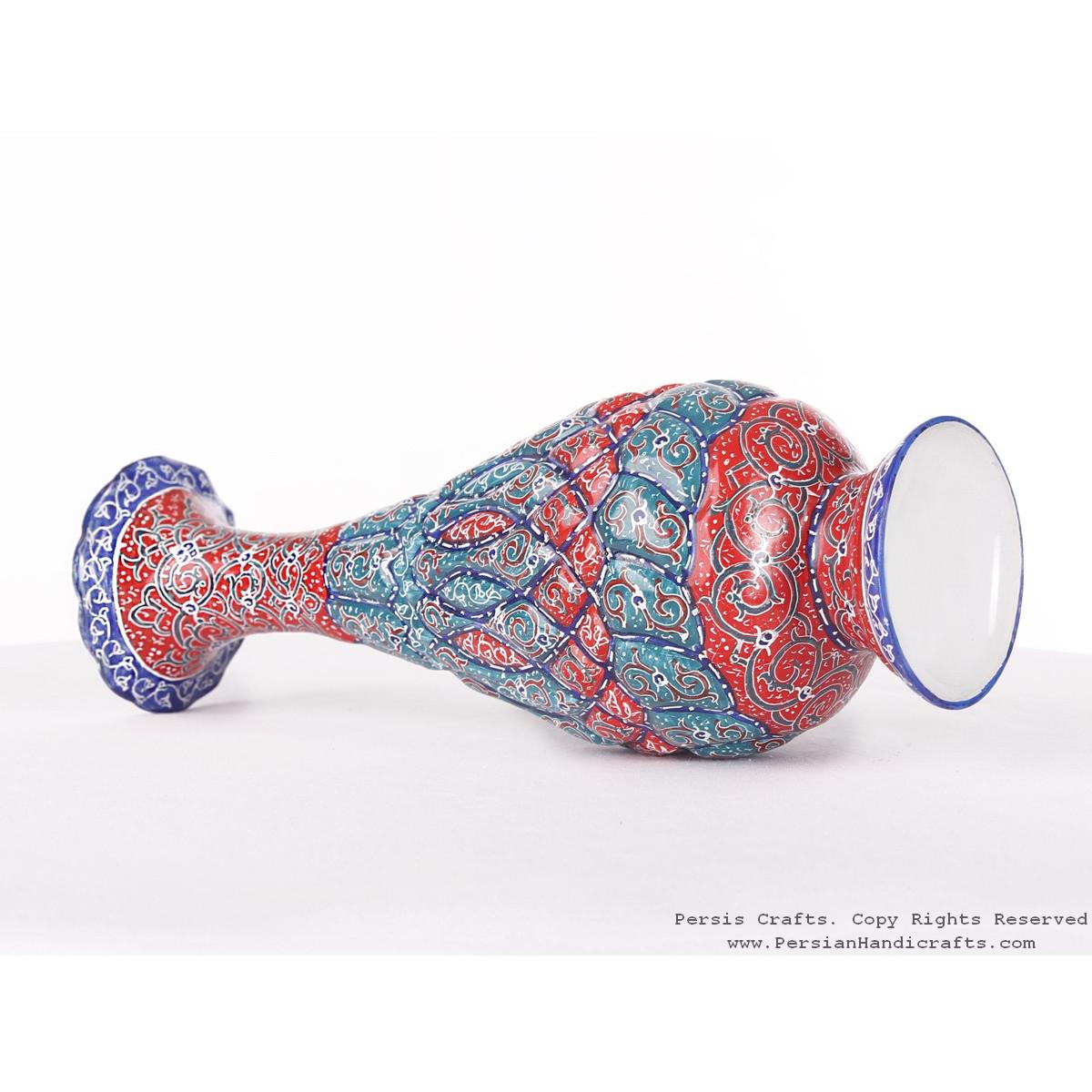 Enamel (Minakari) Flower Vase - HE3611-Persian Handicrafts