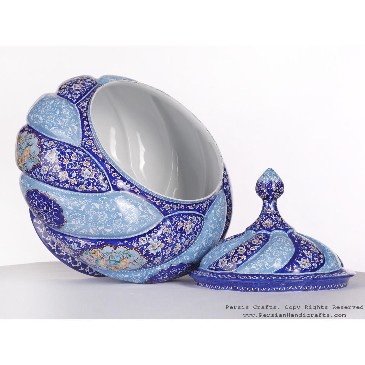 Premium Quality Enamel Minakari Large Candy Pot - HE3613-Persian Handicrafts