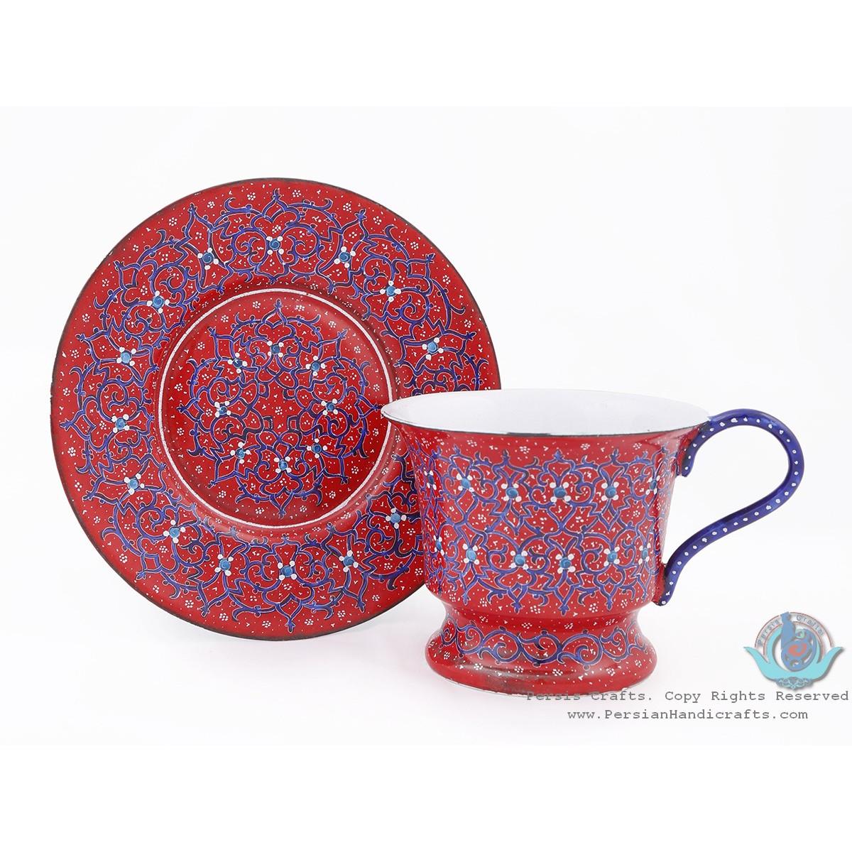 Enamel (Minakari) Tea Cup & Saucer - HE3803-Persian Handicrafts
