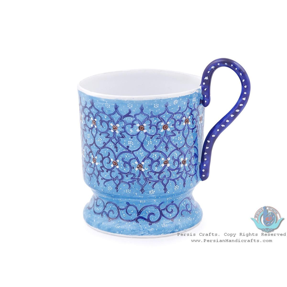 Enamel (Minakari) Tea Cup & Saucer - HE3804-Persian Handicrafts