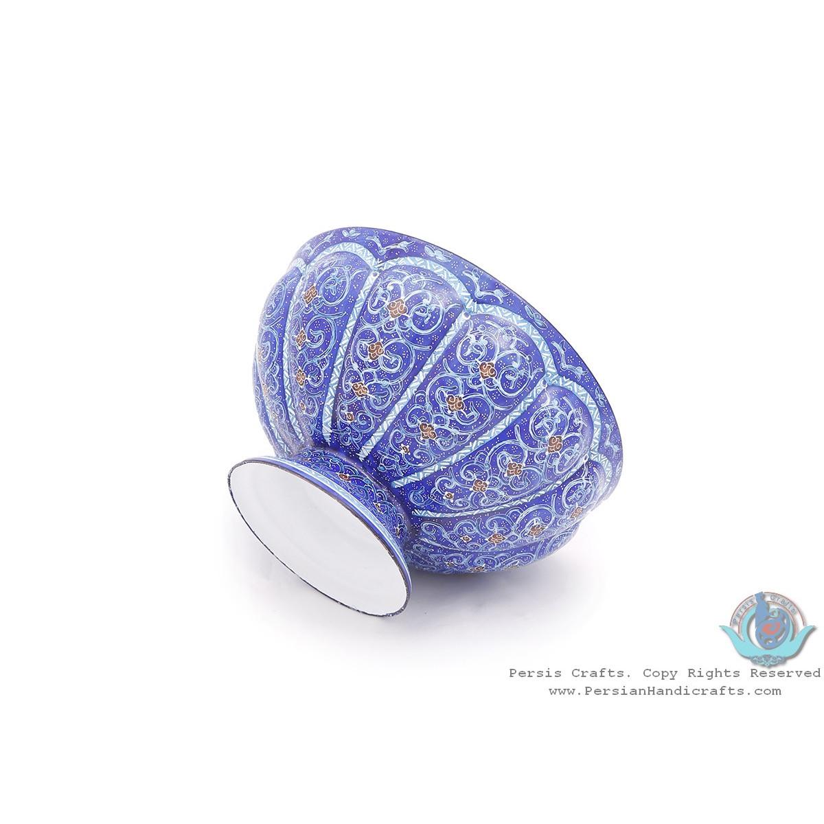Privileged Enamel Protruded Eslimi Minakari Bowl & Plate - HE3914-Persian Handicrafts