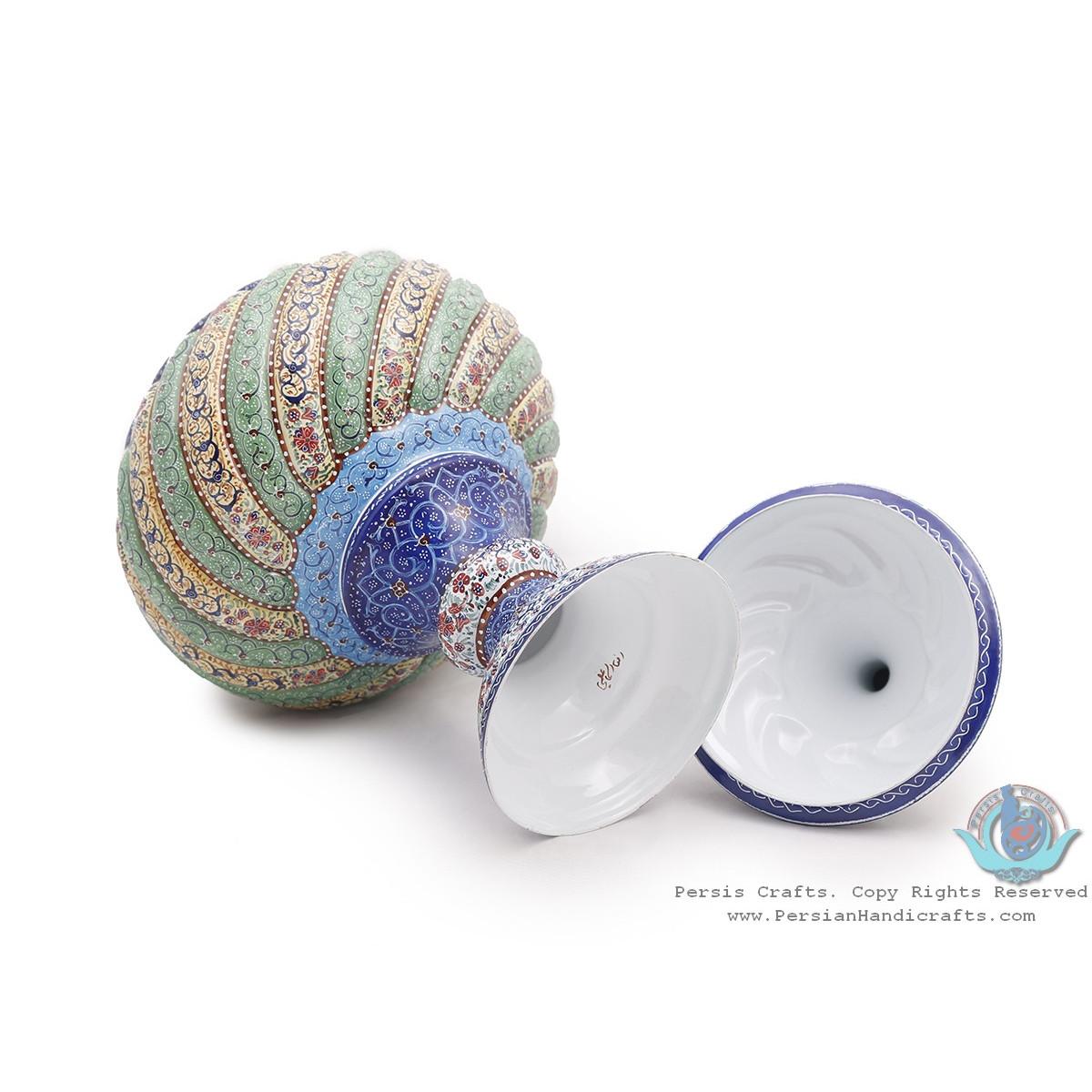 Privileged Enamel Toranj Minakari Pedestal Bowl with Lid - HE3916-Persian Handicrafts