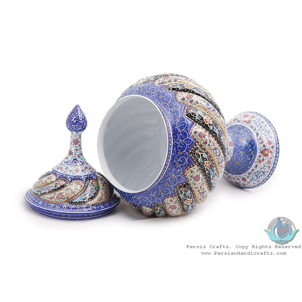 Privileged Enamel Toranj Minakari Pedestal Bowl with Lid - HE3917-Persian Handicrafts