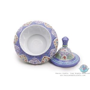 Green Mixed Enamel Toranj Eslimi Minakari Bowl Dish - HE3918-Persian Handicrafts