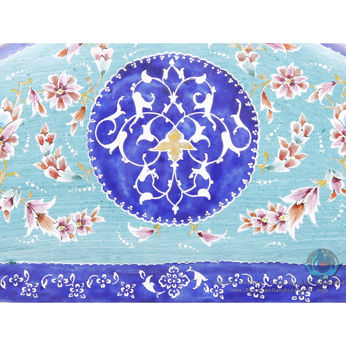 Classy Enamel Eslimi Design Minakari Wall Mirror - HE3921-Persian Handicrafts