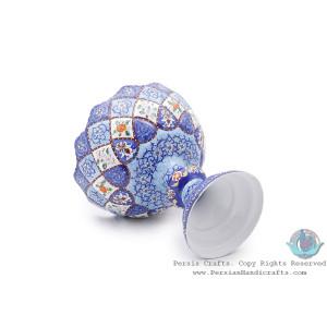 Premium Pedestal Dish w Azure Eslimi Minakari Design - HE4000-Persian Handicrafts
