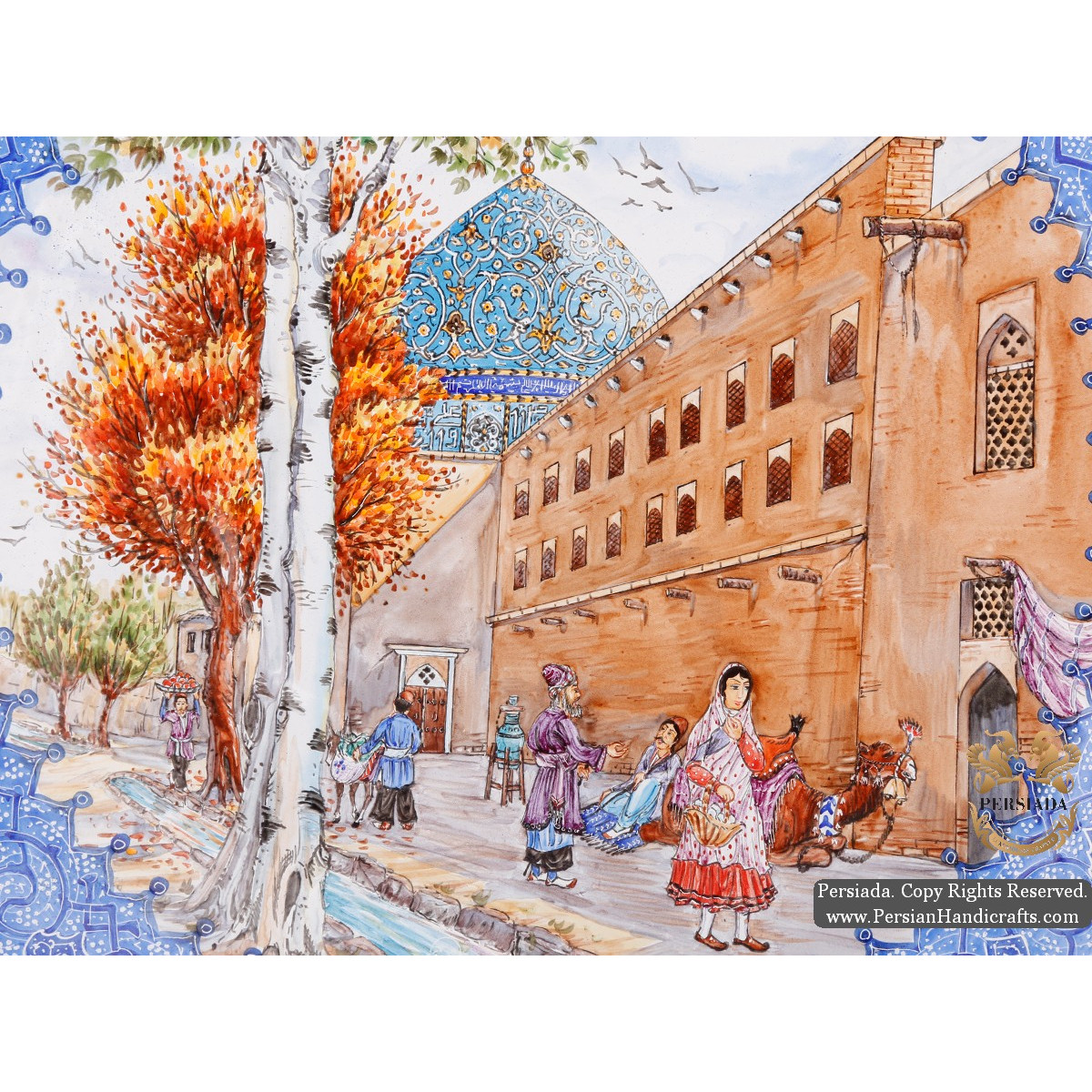 Old Isfahan with Shah Mosque Scenery | Hand Painted Minakari | HE5109-Persian Handicrafts