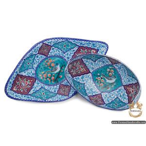 Kashkool Candy Dish & Plate   Hand Painted Minakari   Persiada HE6103