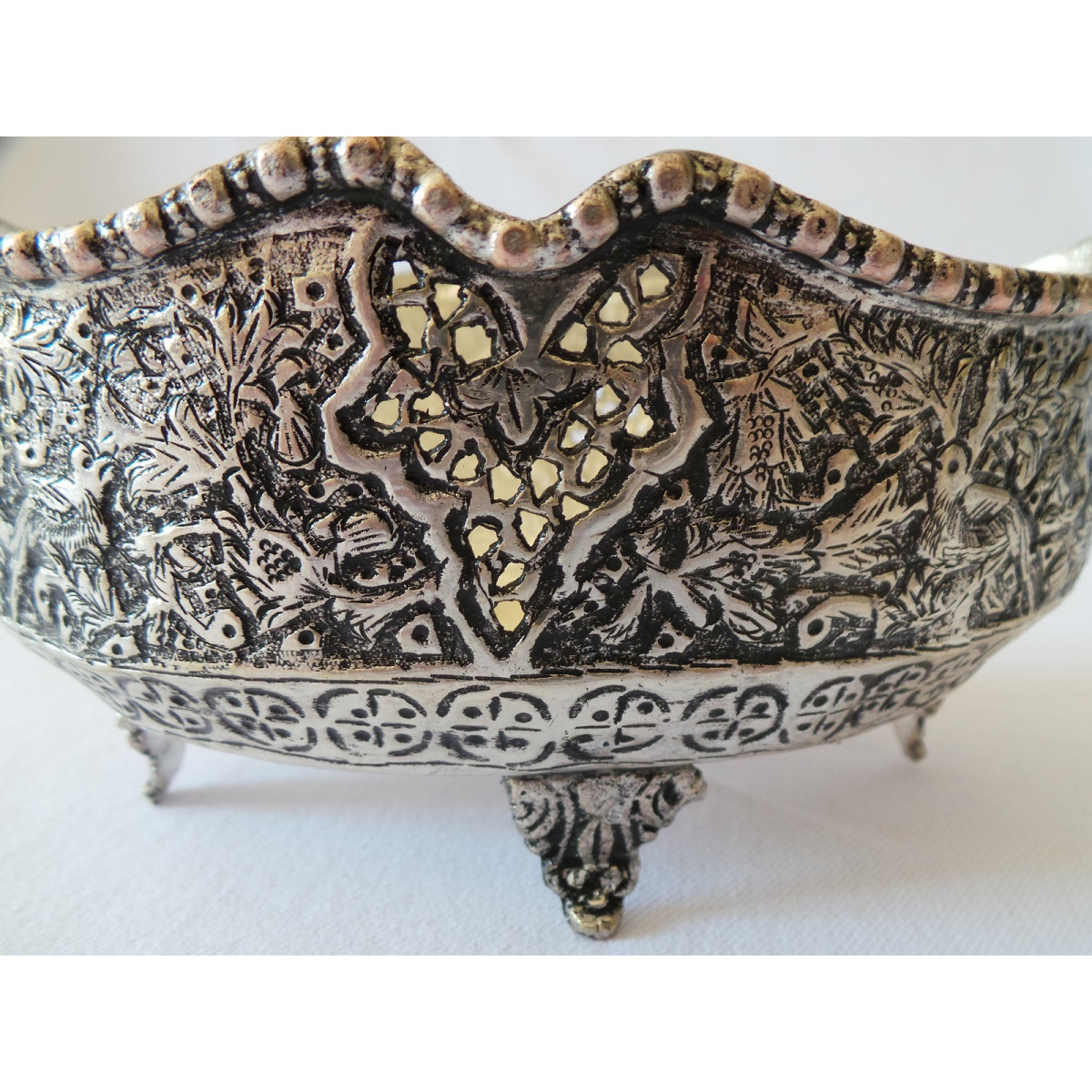 Hand Engraving on Sliver Plated Candy/Nut Oval Bowl - HG2002-Persian Handicrafts