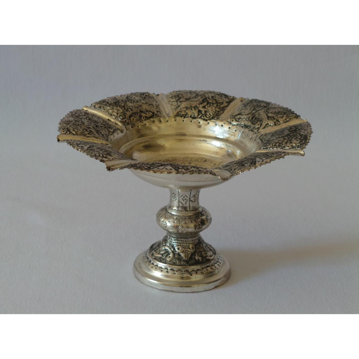 Hand Engraving on Sliver Plated Pedestal Bowl Plate - HG2003-Persian Handicrafts