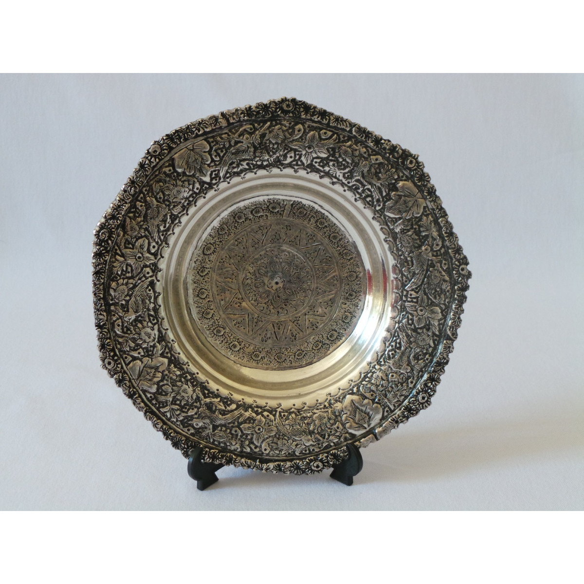 Hand Engraving on Sliver Plated Bowl Plate - HG2004-Persian Handicrafts