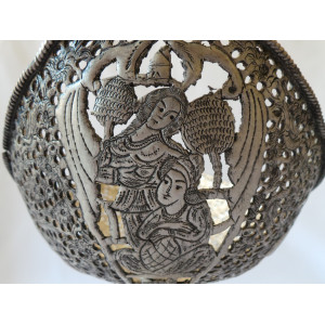 Hand Engraving on Sliver Plated Candy/Nut Pedestal Oval Bowl - HG2005-Persian Handicrafts