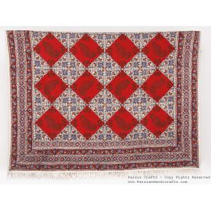 Persian Tapestry (Ghalamkar) Tablecloth - HGH3074-Persian Handicrafts