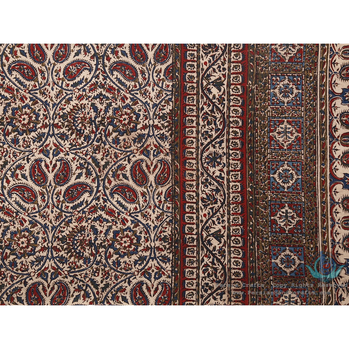 Vintage Look Persian Bote Jeghe Ghalamkar Tablecloth - HGH3901-Persian Handicrafts