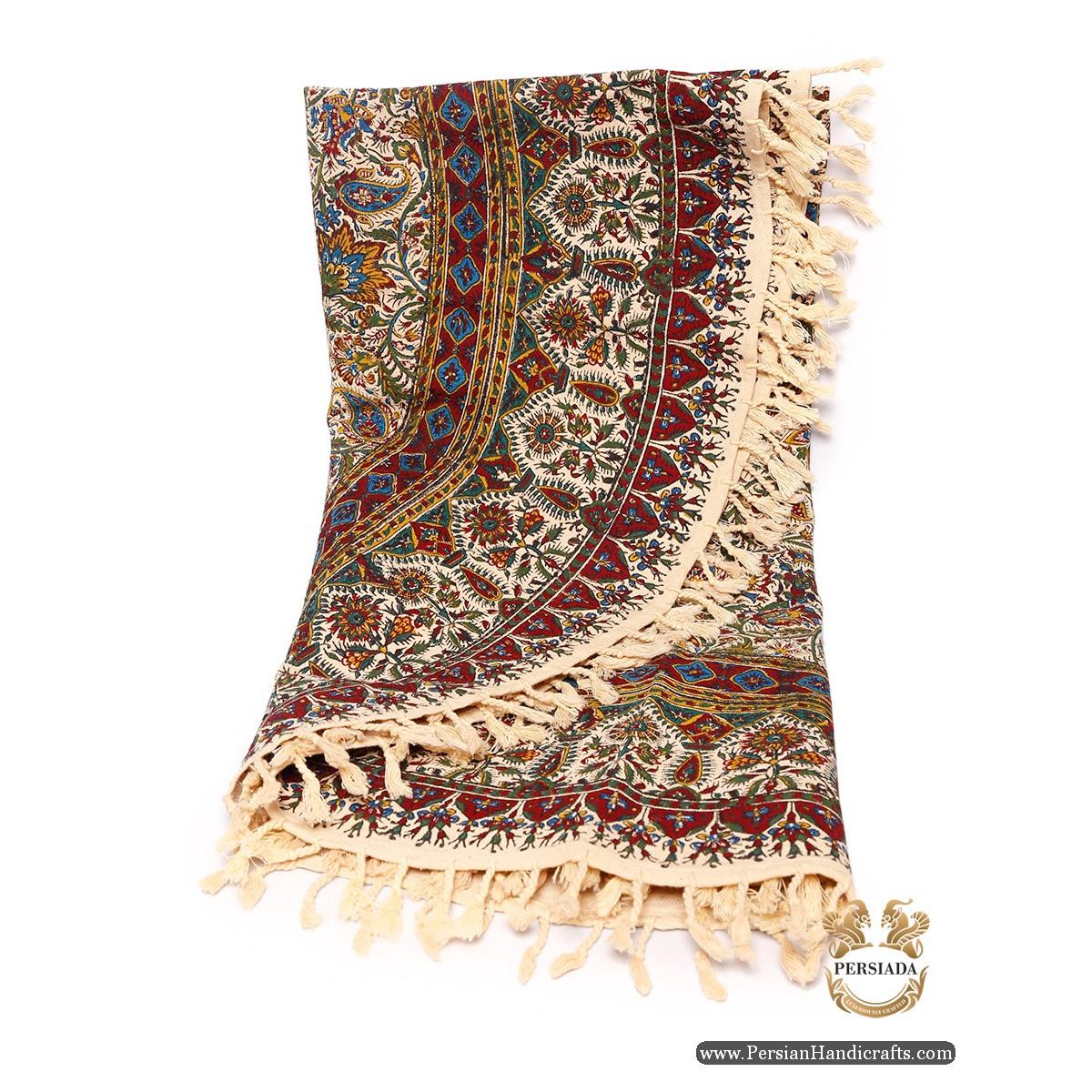 Round Bedspread or Tablecloth | Hand Printed Ghalamkar | Persiada HGH6105
