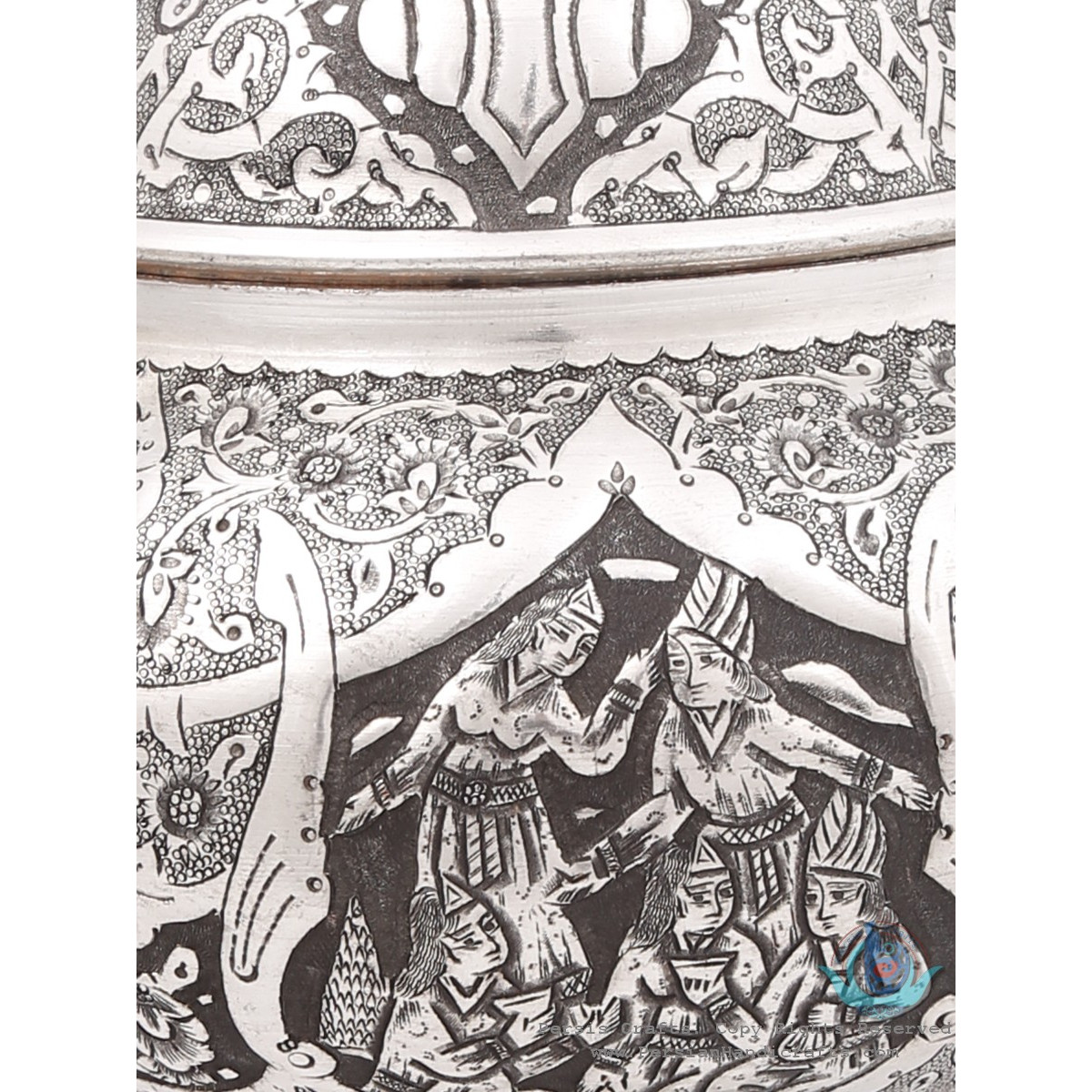 Traditional Handgraved Persian Banquet on Pedestal Dish - HGL3901-Persian Handicrafts