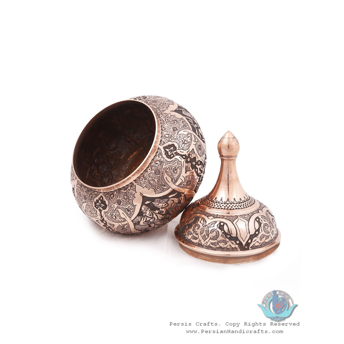 Traditional Handgraved Persian Banquet on Candy Dish - HGL3903-Persian Handicrafts