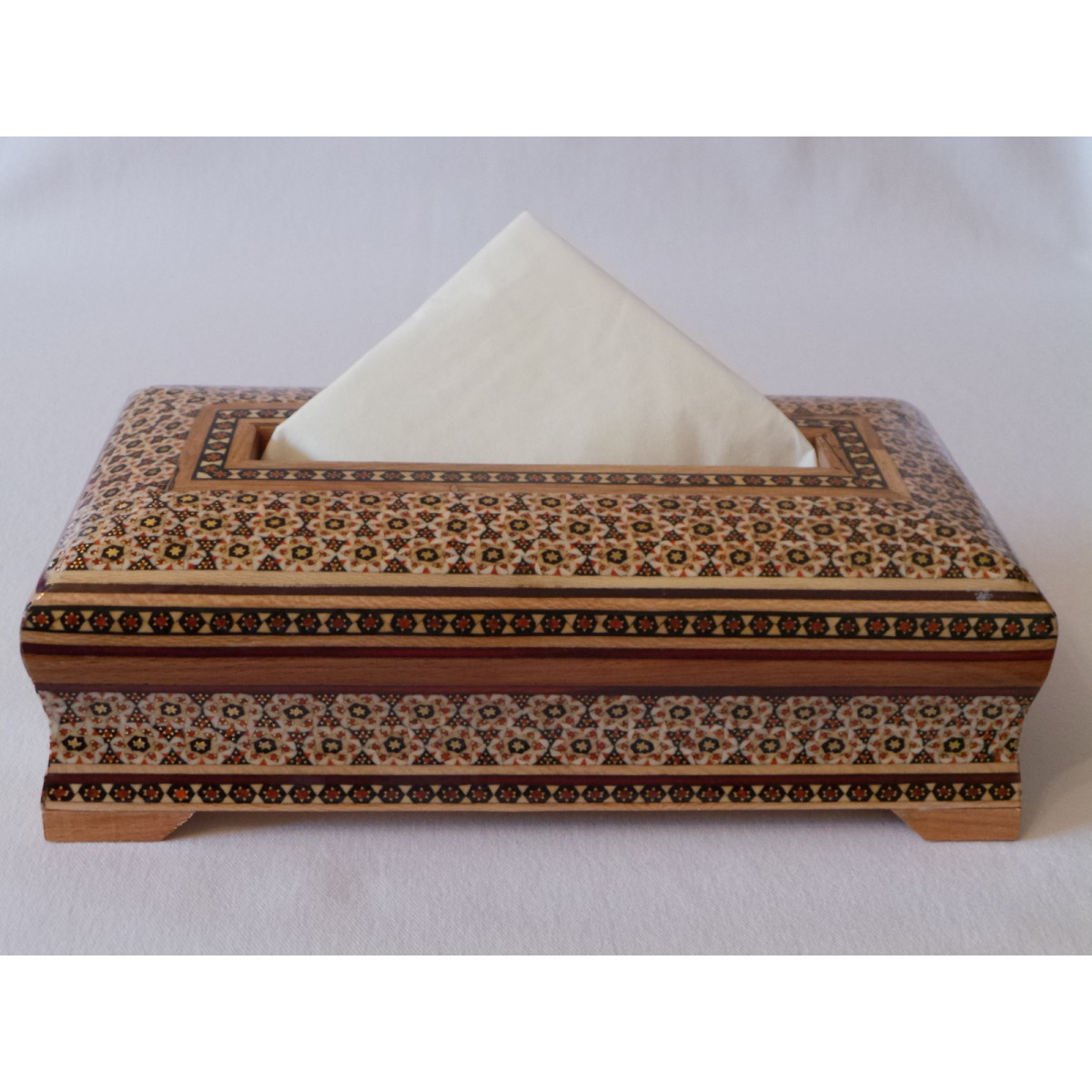 Khatam on Wood Tissue Box - HKH2046-Persian Handicrafts