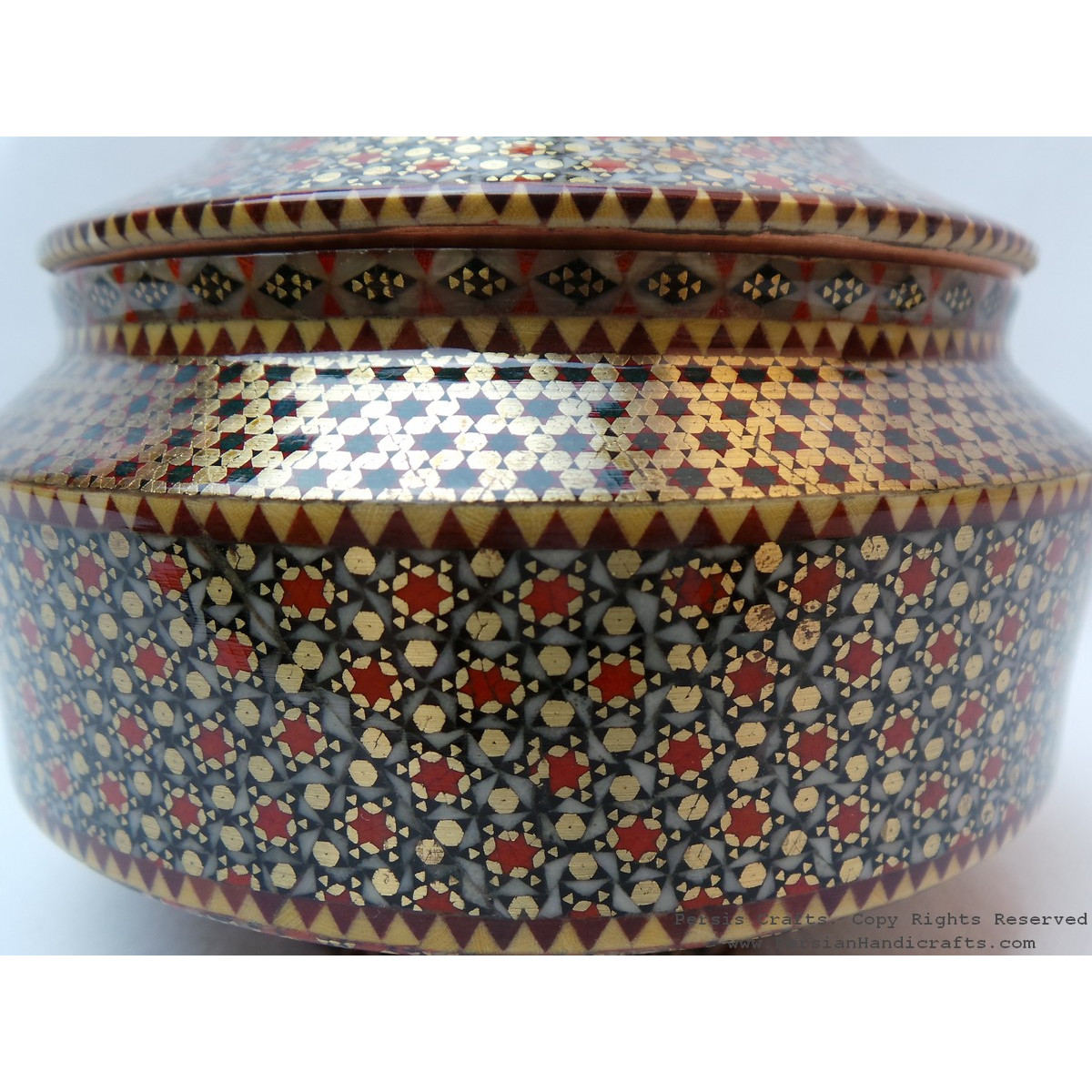 Khatam on Copper Candy Bowl Dish - HKH3003-Persian Handicrafts
