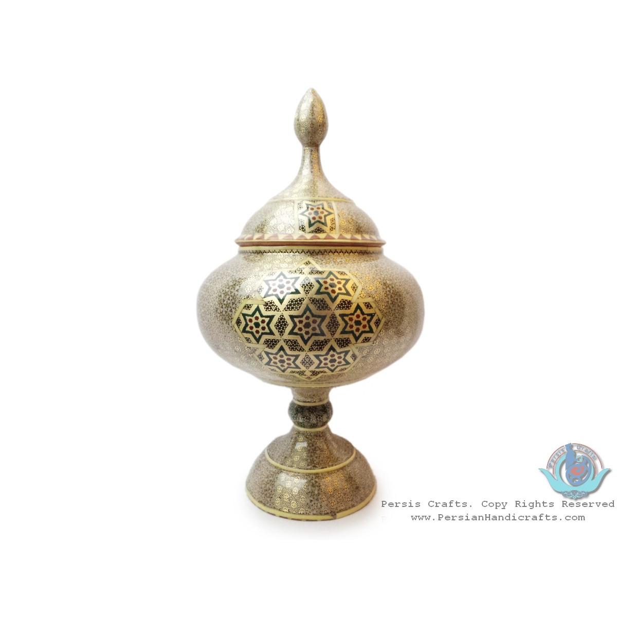 Khatam on Copper Pedestal Bowl Dish - HKH3004-Persian Handicrafts