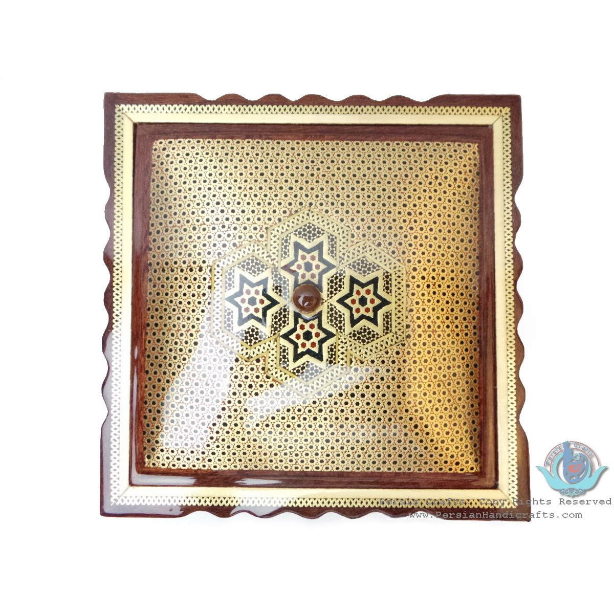 Khatam on Wood Candy/Nuts Dish - HKH3007-Persian Handicrafts