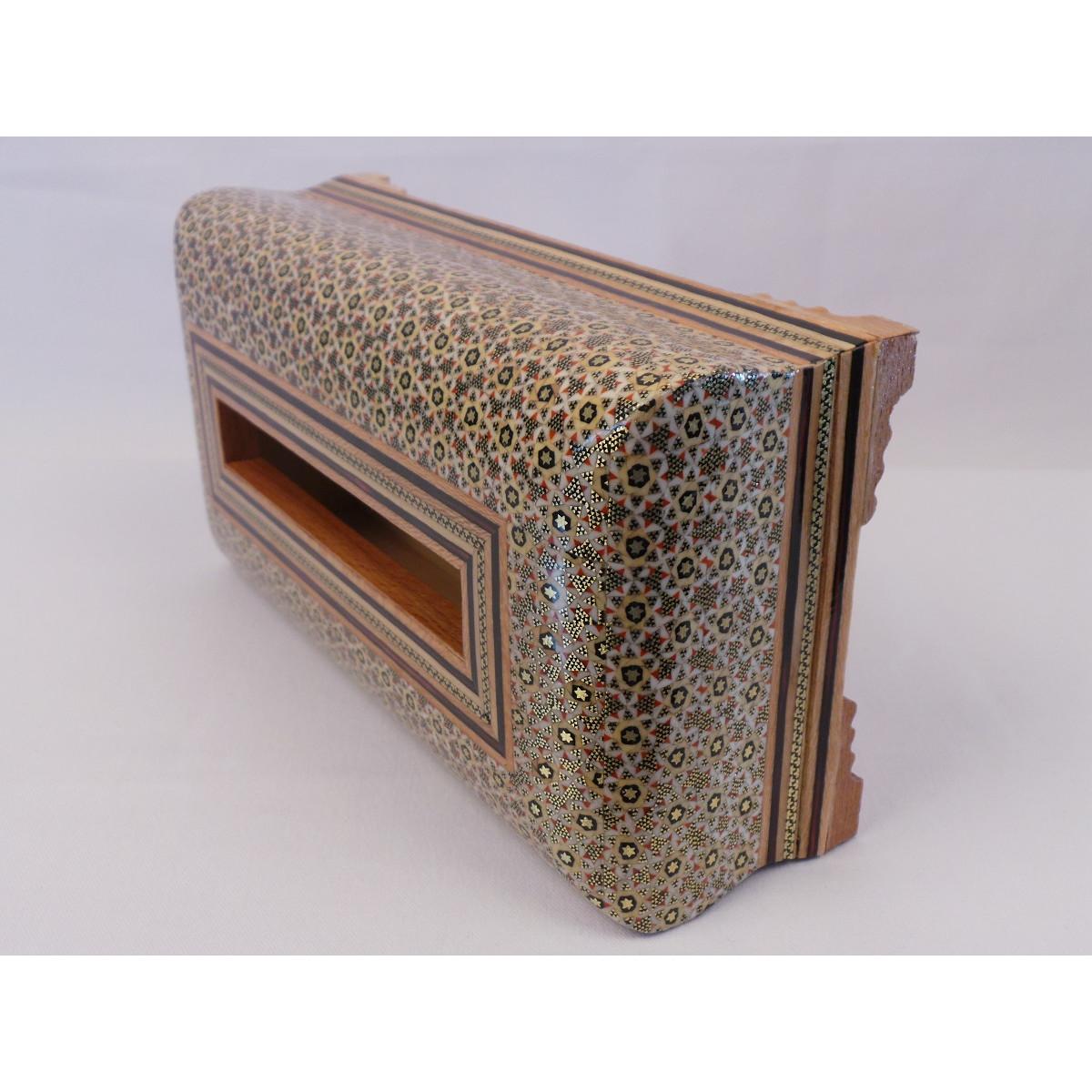 Khatam on Wood Tissue Box - HKH3013-Persian Handicrafts