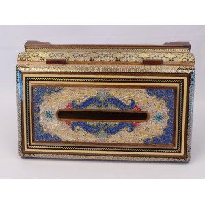 Khatam on Wood Tissue Box - HKH3014-Persian Handicrafts