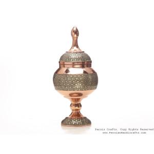 Partial Khatam on Copper Pedestal Bowl with Lid - HKH3605-Persian Handicrafts