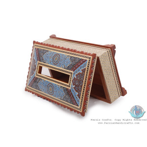 Privileged Tazhib Minature on Khatam Marquetry Tissue Box - HKH3902-Persian Handicrafts