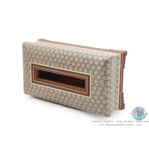 Classy Sun Design Khatam Marquetry on Wood Tissue Box - HKH3903-Persian Handicrafts