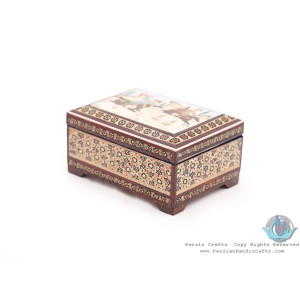 Khatam Marquetry with Chogan Miniature on Jewelry Box - HKH3911-Persian Handicrafts