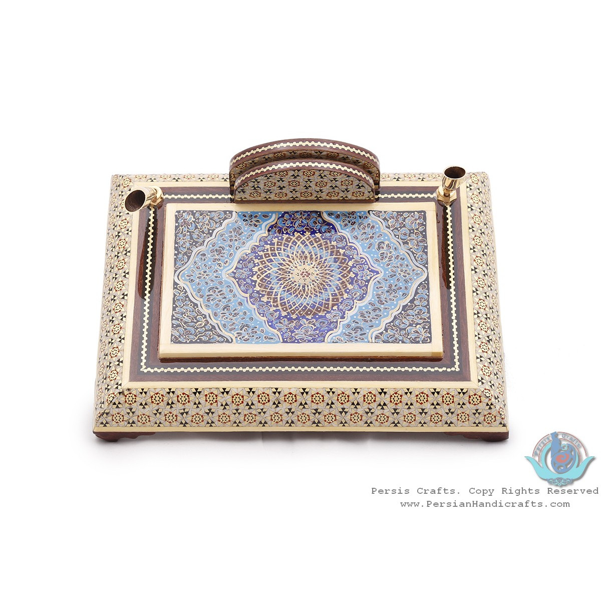 Privileged Khatam Marquetry Pen Holder with Tazhib Miniature - HKH3918-Persian Handicrafts