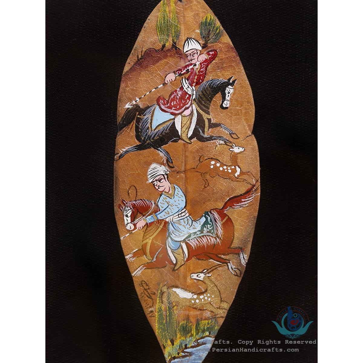 Hand Miniature on Leaf with Khatam Frame - HKH3925-Persian Handicrafts