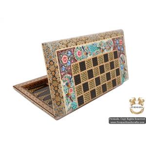 Backgammon & Chess Set | Miniature Khatam Marquetry | HKH5104-Persian Handicrafts