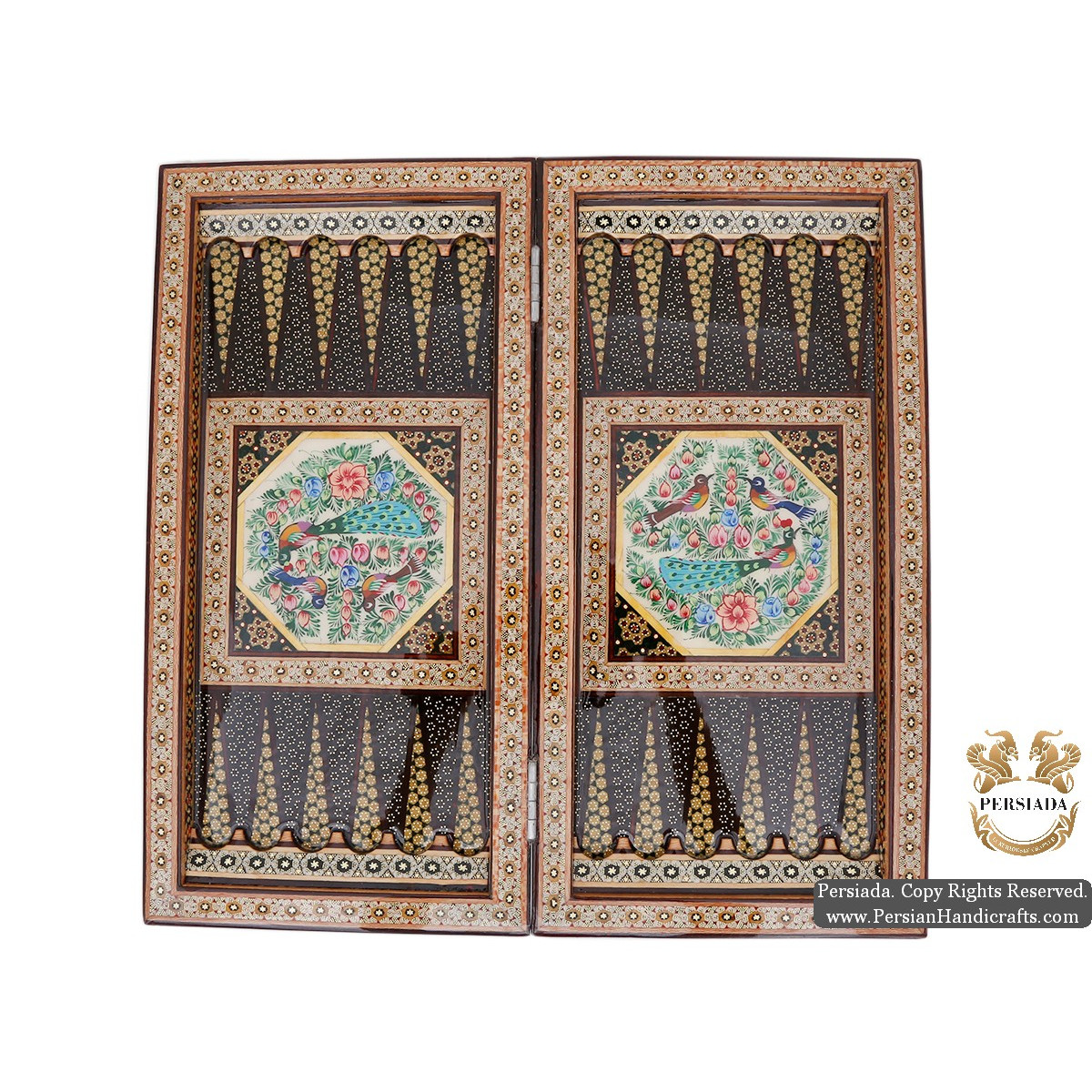 Backgammon & Chess Set | Miniature Khatam Marquetry | HKH5104-Persian Handicrafts
