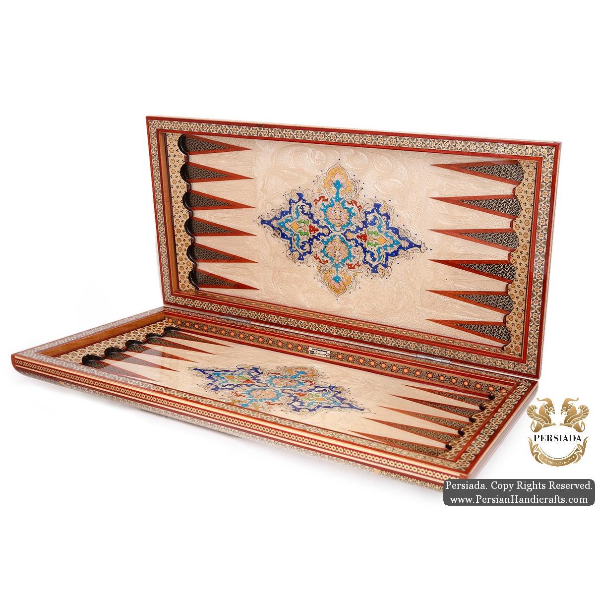 Backgammon & Chess Set | Superior Miniature Khatam Marquetry | HKH5114-Persian Handicrafts