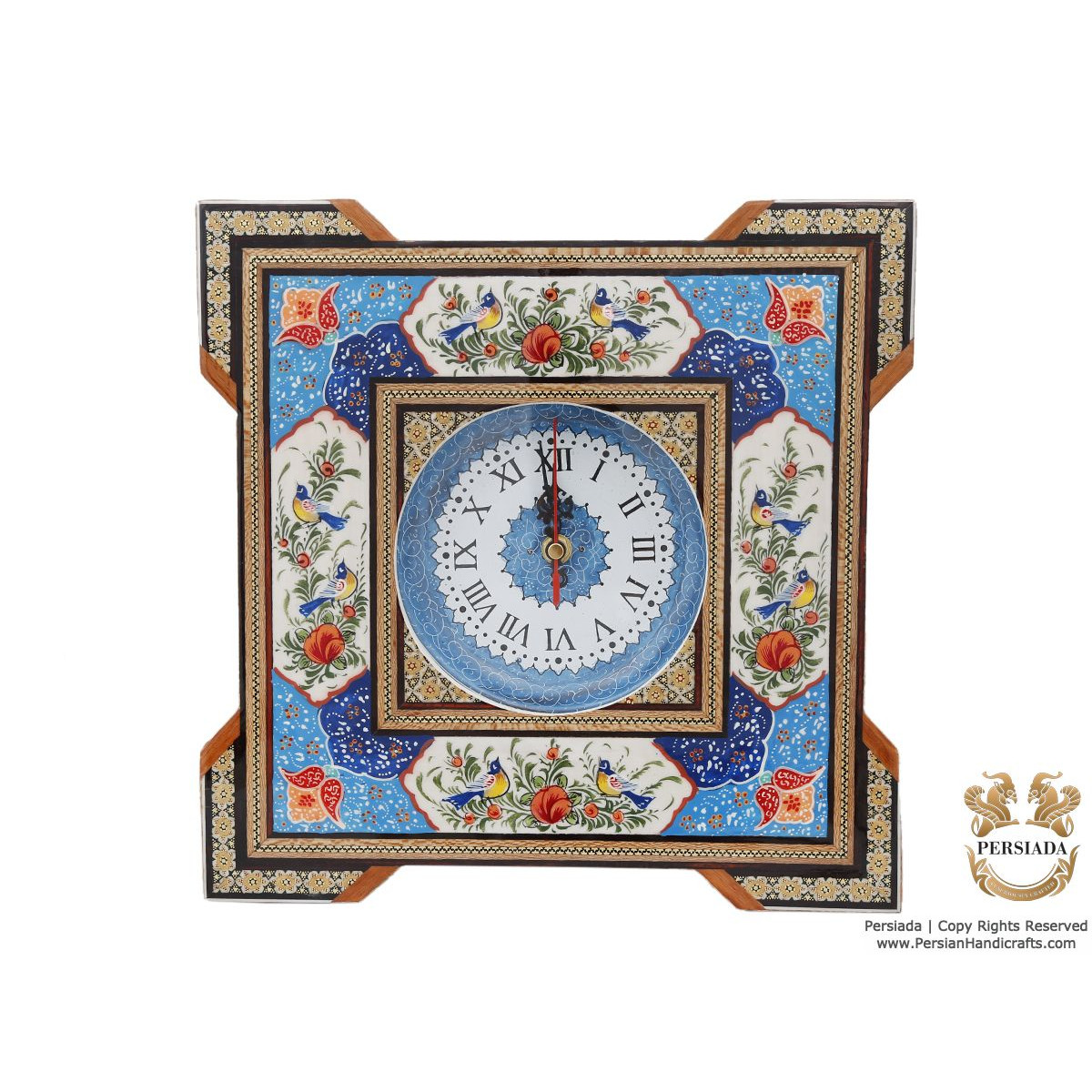 Square Wall Clock - Miniature on Khatam | HM4101 Persiada-Persian Handicrafts