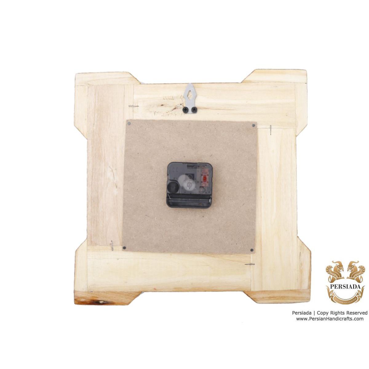 Square Wall Clock - Miniature on Khatam | HM4101 Persiada-Persian Handicrafts